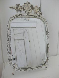 Distressed Metal Frame Mirror-distressed metal, distressed ivory metal, metal flowers~via Cottage Flair