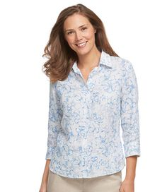 Women's Premium Washable Linen Shirt, Three-Quarter Sleeve Floral | Free Shipping at L.L.Bean