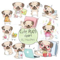 Cute PUGS set 1 ,Kawaii pug clipart instant download PNG file - 300 dpi by HandMek on Etsy https://www.etsy.com/listing/505417048/cute-pugs-set-1-kawaii-pug-clipart