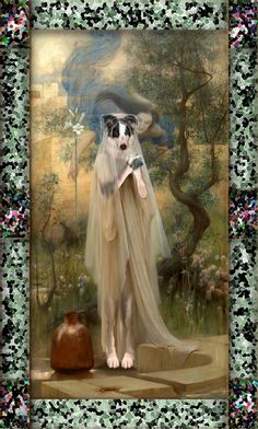 """Based on Arthur Hacker """"Annunciation"""", I made this collage portraying Bella as the Lady and myself as an angel, floating over her. Klimt, Digital Collage, Dog Art, Art Gallery, Angel, Illustration, Artist, Dogs, Painting"""