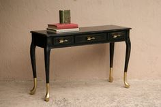 Gold Dipped Queen Anne Style Console Table with Gold Finish Arrow Drawer Pulls. Painted black and distressed. | Maison Bord de Mer