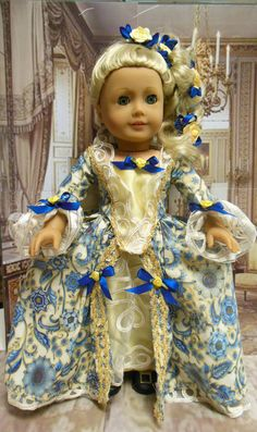 """""""Gilded Florentine"""" Marie Antionette inspired Gown for AG Felicity and Elizabeth by TheDollyDama via Etsy $65.00"""