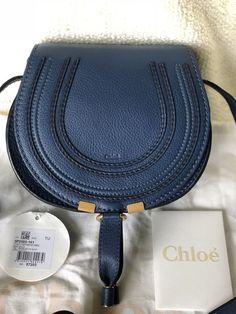 bba3290d857 CHLOE MINI MARCIE Round Saddle Crossbody Bag Calfskin Leather in Royal Navy  NEW #purses #fashion