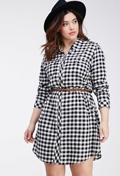 Plus Size Shirt Dress - Plus Size FOREVER 21+ Checked Pocket Shirt Dress