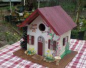 Folk Art Bird Houses | Handpainted Folk Art Recycled Wood Birdhouse for Bluebirds, Wrens, Fin ...