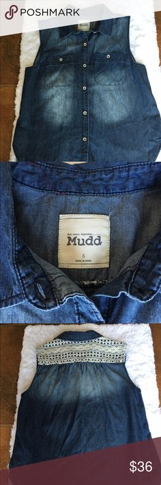 MUDD Jean top This light weight bluejean like top features lace like crocheted embellishment in the back and is button down. Great summer fun shirt!          Brand new never been worn! Mudd Tops Button Down Shirts