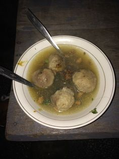 Bakso soup from street vender,  $1. Dec. 2016