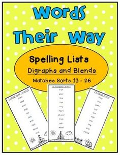 Words Their Way Spelling list matches sorts 13 - 26 Digraphs and Blends