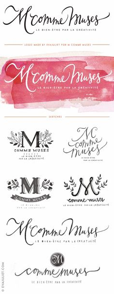 Premade Branding. Love this Watercolor Branding Design. Adorable Brush Lettering Too!