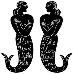 Louise Fili Mermaid Inn and Mermaid Oyster Bar logos (2003/2010)