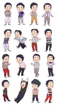 Blaine's many outfits.