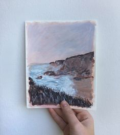 Ocean landscape painting in acrylic Mixed Media Art, Landscape Paintings, Ocean, Instagram, Mixed Media, Landscape, The Ocean, Landscape Drawings, Sea