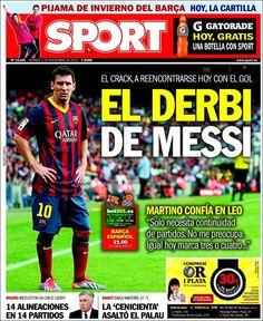 Los Titulares y Portadas de Noticias Destacadas Españolas del 1 de Noviembre de 2013 del Diario Deportivo SPORT ¿Que le pareció esta Portada de este Diario Español?