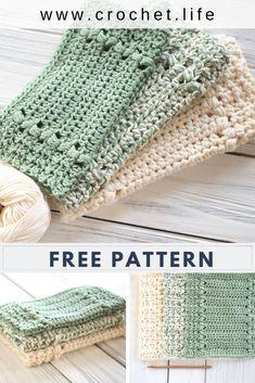 Easy to crochet dishcloth and matching hand towel pattern free at www.crochet.life / GoldenStrandStudio.com - River's Edge Dishcloth Crochet Dish Towels, Crochet Potholders, Crochet Gifts, Knit Or Crochet, Crochet Stitches, Chrochet, Easy Crochet Patterns, Crochet Dishcloths Free Patterns, Cosas A Crochet