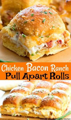 Love how easy these Chicken Bacon Ranch Pull Apart Rolls are to make Perfect for feeding a crowd! Chicken Bacon Ranch Pull A. Think Food, Love Food, Great Food, Slider Recipes, Easy Sandwich Recipes, Sandwich Ideas, Burger Recipes, Football Food, Sandwich Recipes