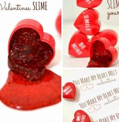"""LOVE !!!! """"You melt my heart""""? Perfect silly but cute DIY Valentine! #diy #valentinesday #heart #slime #gift"""