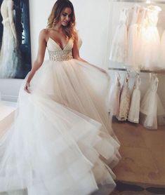 Custom Made V-Neck Tulle Sequin White Long Prom Dress