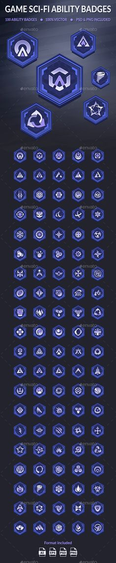 Game Sci-Fi Ability Badges by Foxkids | GraphicRiver Game Logo, Game Ui, Sci Fi Games, Map Icons, Ultimate Garage, Game Interface, Magic Symbols, Game Icon, Ui Elements