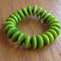 25 Lime Green Tagua Nut Beads 8mm Rondell Beads by EcoBeadsTagua, $4 ...