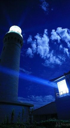 Tsunoshima Lighthouse - High sensitivity shooting by moonlight. Tsunoshima, Houhoku-cho, Shimonoseki-city, Yamaguchi prefecture, Japan by tomosang Yamaguchi, Sea Of Japan, Beacon Of Light, Himmelblau, Dark Night, Shades Of Blue, Costa, Beautiful Places, Scenery
