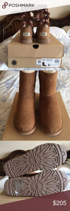 NIB AUTHENTIC Ugg w Bailey Bow boots Only tried on. They are authentic and have no flaws. UGG Shoes Winter & Rain Boots