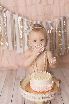 Amy Raab Photography » Birmingham Newborn Photographer. Specializing in Newborn, Child & Family Photography. glam smash cake session. gold, rose gold, pink, glitter