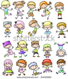 Kinder-Cartoon-Zeichnungen von Virinaflora, via ShutterStock Drawing Cartoon Characters, Character Drawing, Cartoon Drawings, Doodle Drawings, Easy Drawings, Doodle Art, Cartoon Kids, Cartoon Art, Happy Cartoon