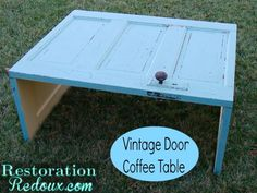 From the Barn to My Living Room (Vintage Door Coffee Table) - Restoration Redoux http://www.restorationredoux.com/?p=7156