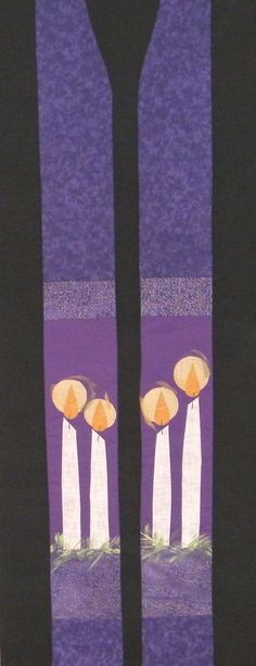 #484 Advent-Candle stole (purple) Carrot Top Studio Clergy Stoles/Vestments for Pastors, Ministers, Chaplains and Wedding Officiants