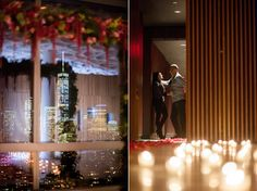 NYC Proposal Photos by Mikkel Paige Photography. Candlelight rose aisle at Trump Soho overlooking NYC skyline.  #mikkelpaige #proposals #willyoumarryme #nycskyline #nyc #freedomtower #nightphotography