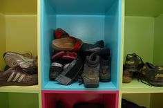 Colour-coded shoe storage by Guild Anderson