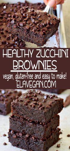 Easy Zucchini Brownies (Vegan) - Elavegan My Recipes - Vegan zucchini brownies which are soft, moist, gooey, fudgy, and very chocolaty! The recipe is plan - Brownie Sans Gluten, Dessert Sans Gluten, Healthy Dessert Recipes, Easy Desserts, Healthy Desserts For Kids, Cookies Healthy, Dessert Simple, Dessert Blog, Healthy Chocolate Desserts