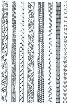 Learning some border techniques Doodle Art Drawing, Zentangle Drawings, Mandala Drawing, Art Drawings, Zentangles, Mandala Pattern, Zentangle Patterns, Pattern Art, Zentangle Art Ideas