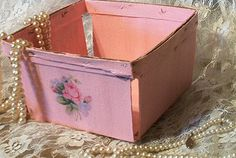 pink small vintage thin wood berry basket shabby by PrincessPeony, $6.00