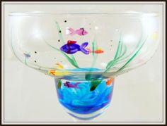 Painted+margarita+glasses | Hand Painted Fish Margarita Glass | Glass Paradox