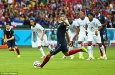 Patience: Karim Benzema put Les Bleus in front, converting a penalty just before half time