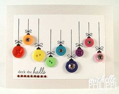 Colorful Button Cards | 49 Awesome DIY Holiday Cards