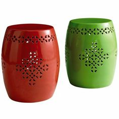 Outdoor Garden Stools Great way to add color and extra seating in your outdoor entertaining area.