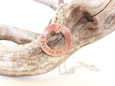 copper washer necklace  hand stamped jewelry   by WyomingCreative, $28.00 Washer Crafts, You Belong With Me, Hand Stamped Jewelry, Washer Necklace, Marriage, Copper, Wedges, Shoes, Art