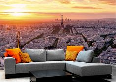 Fotomurales Paris at sunset. Ideas decoración academia de francés #decoración #academia #francés #ideas #vinilo #TeleAdhesivo