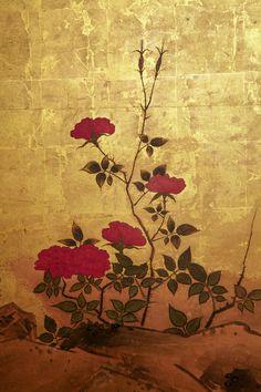 Detail. 19th c. Six panel Japanese Screen