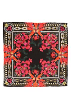 Iris Silk Twill Square Scarf, Main, color, Black/ Pink Square Scarf, Shawls And Wraps, Red Shoes, Womens Scarves, Scarf Wrap, Iris, Givenchy, Hair Accessories, Nordstrom