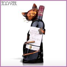 TOOARTS New Year Cat Wine Holder Wine Rack Shelf Metal Sculpture Practical Sculpture Wine stand Home Decoration Interior Crafts
