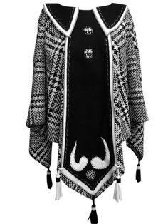 Артистично вълнено пончо в черно и бяло пепит | Selected fashion corner