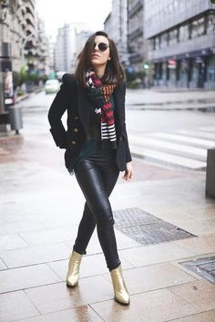 30 ways to wear leather pants this fall/winter - scarf + peacoat