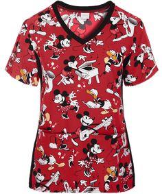 Cherokee Tooniforms Disney Mickey Heritage Scrub Top - M Disney Scrub Tops, Disney Scrubs, Cute Nursing Scrubs, Nurse Scrubs, Scrubs Uniform, Medical Scrubs, Scrub Jackets, Flare Leg Pants, Scrub Pants