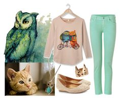 """The Owl & The Pussycat"" by miatesta ❤ liked on Polyvore featuring Wet Seal, ASOS, BCBGMAXAZRIA, 7 For All Mankind, mint green, jeweled, gems, green, jewels and nude"