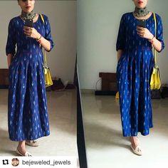 simple, comfortable yet elegant Ethnic Outfits, Indian Outfits, Ethnic Dress, Indian Attire, Indian Wear, Kurta Designs, Blouse Designs, Ikkat Dresses, Look Girl