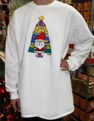 """""""Santa Baby"""" This colorful Santa is printed on white Comfort Color long sleeve tee for Adults and Youth. Toddlers is printed on white Rabbit Skins long sleeve tee."""
