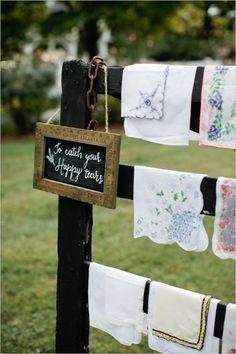 vintage handkerchiefs #lavenderwedding #purplewedding #weddingchicks http://www.weddingchicks.com/2014/01/01/lavender-wedding-2/